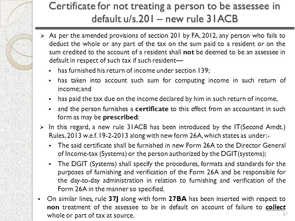 Certificate for not treating a person to be assessee in default u/s