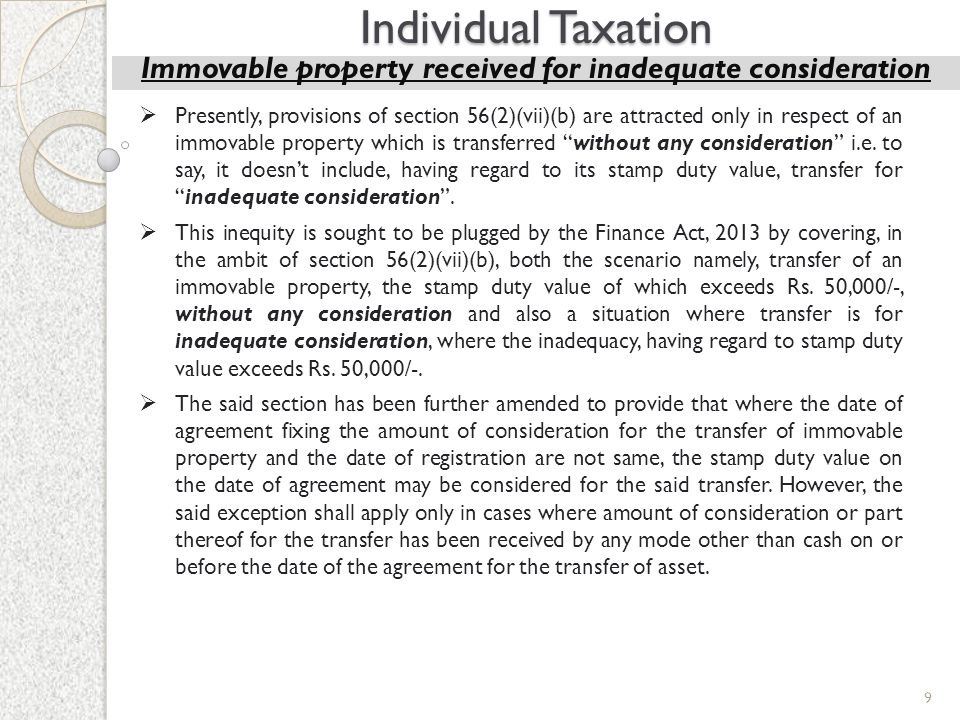 Immovable property received for inadequate consideration