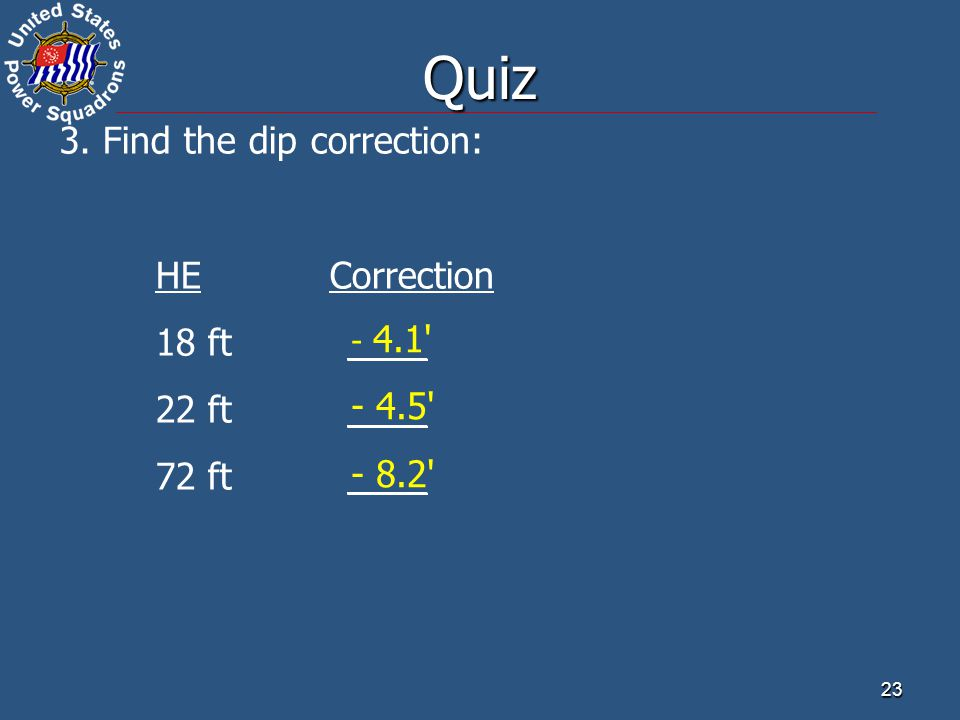 Quiz 3. Find the dip correction: HE Correction 18 ft ____ 22 ft ____