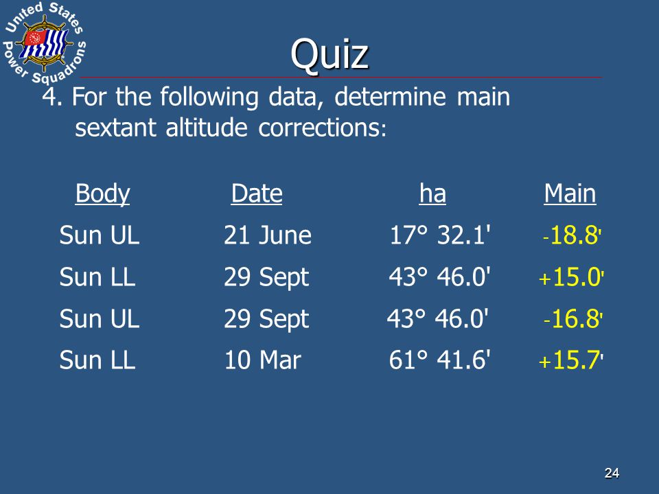 Quiz 4. For the following data, determine main sextant altitude corrections: Body Date ha.