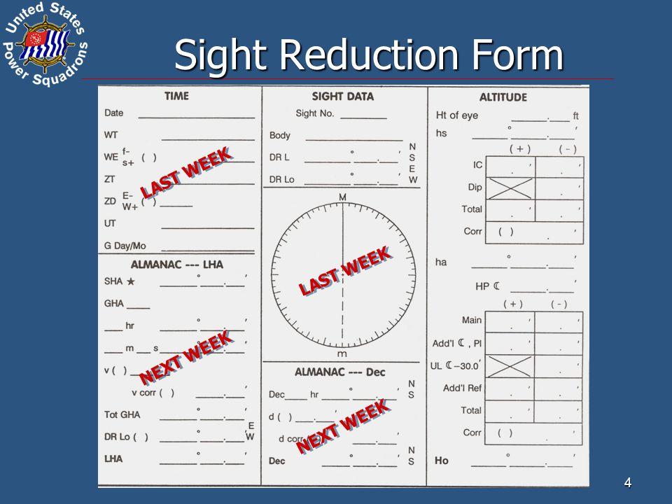 Sight Reduction Form LAST WEEK LAST WEEK NEXT WEEK NEXT WEEK 4 4