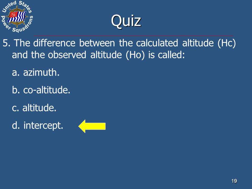 Quiz 5. The difference between the calculated altitude (Hc) and the observed altitude (Ho) is called: