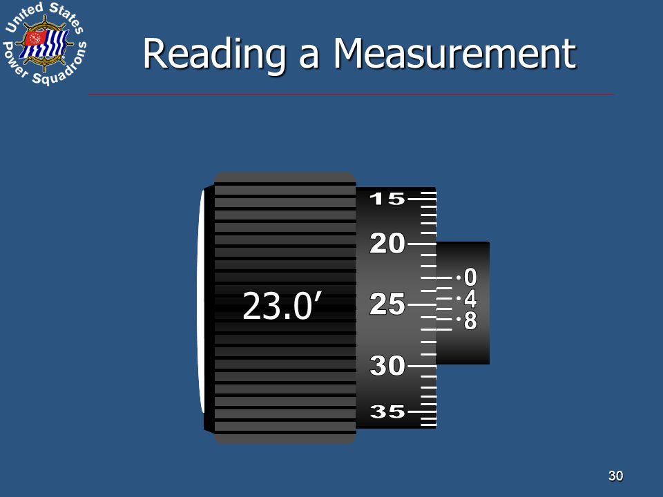 Reading a Measurement 23.0' 51.3' 32.6' 15 25 45 20 30 50 35 25 55 30