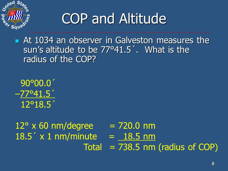 COP and Altitude At 1034 an observer in Galveston measures the sun's altitude to be 77°41.5´. What is the radius of the COP