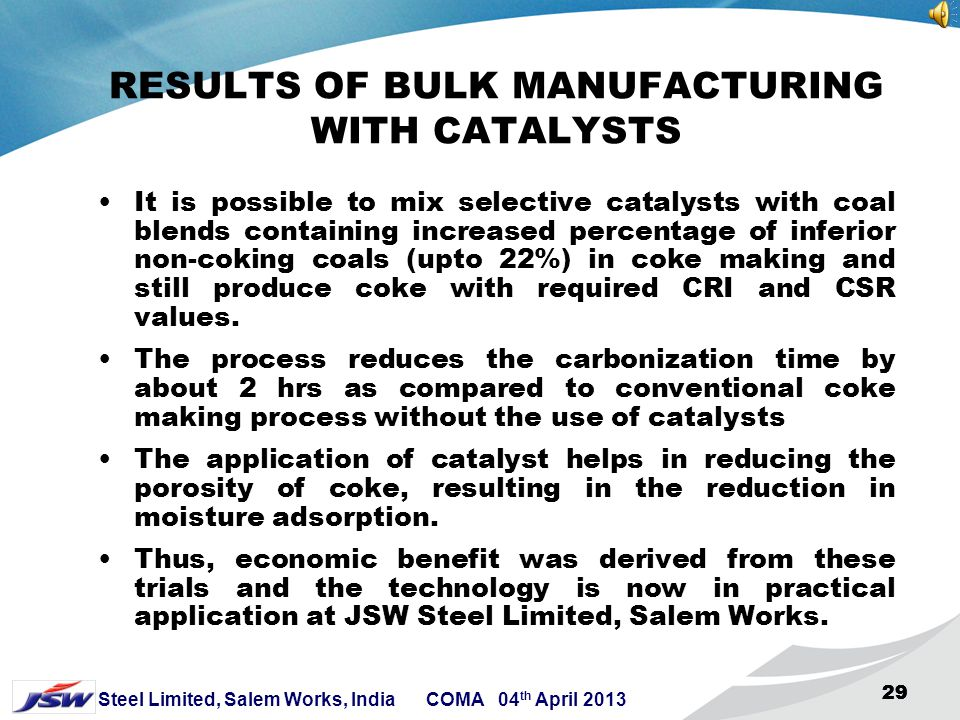 RESULTS OF BULK MANUFACTURING WITH CATALYSTS