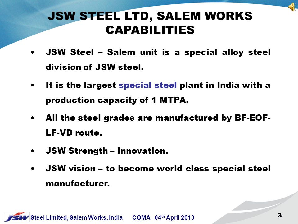 JSW STEEL LTD, SALEM WORKS