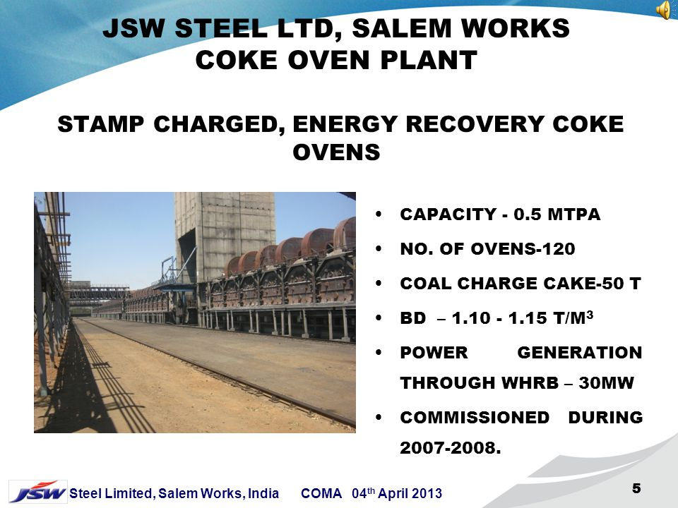JSW STEEL LTD, SALEM WORKS COKE OVEN PLANT STAMP CHARGED, ENERGY RECOVERY COKE OVENS