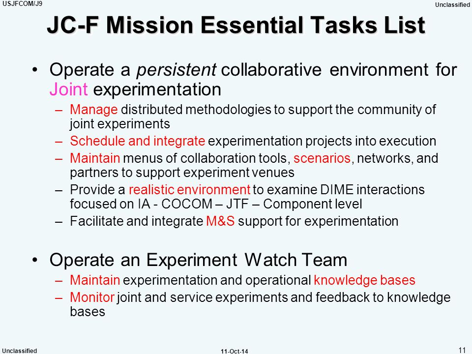 JC-F Mission Essential Tasks List