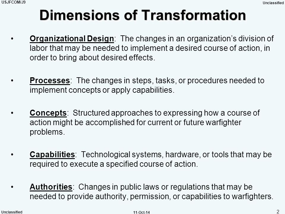 Dimensions of Transformation