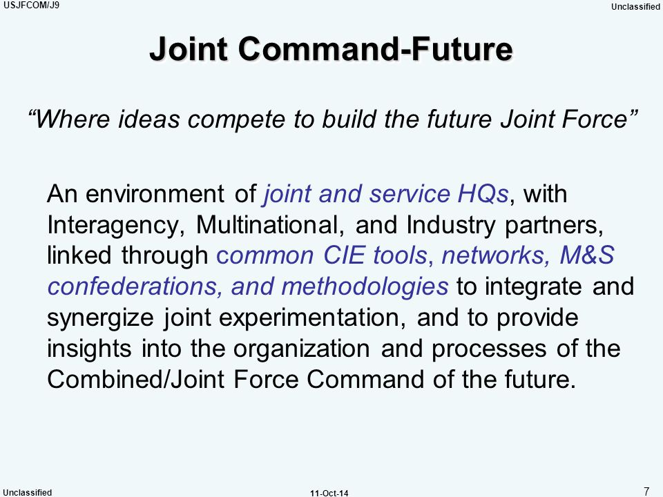Joint Command-Future Where ideas compete to build the future Joint Force