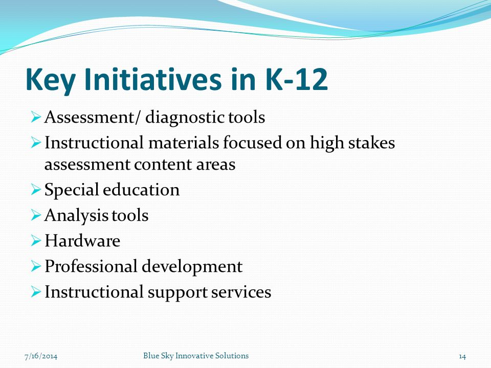 Key Initiatives in K-12 Assessment/ diagnostic tools