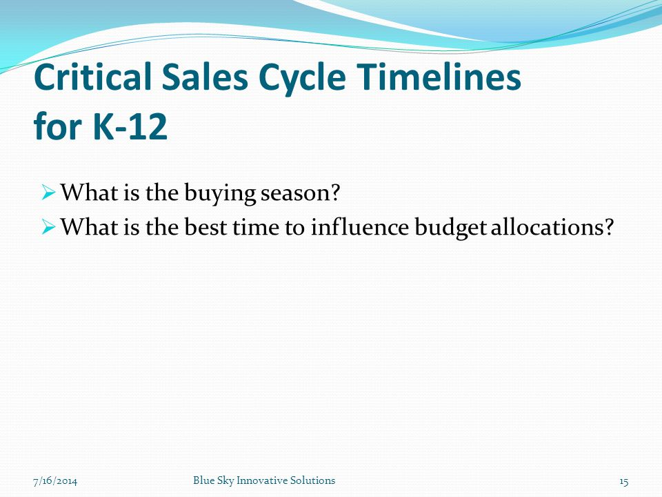 Critical Sales Cycle Timelines for K-12