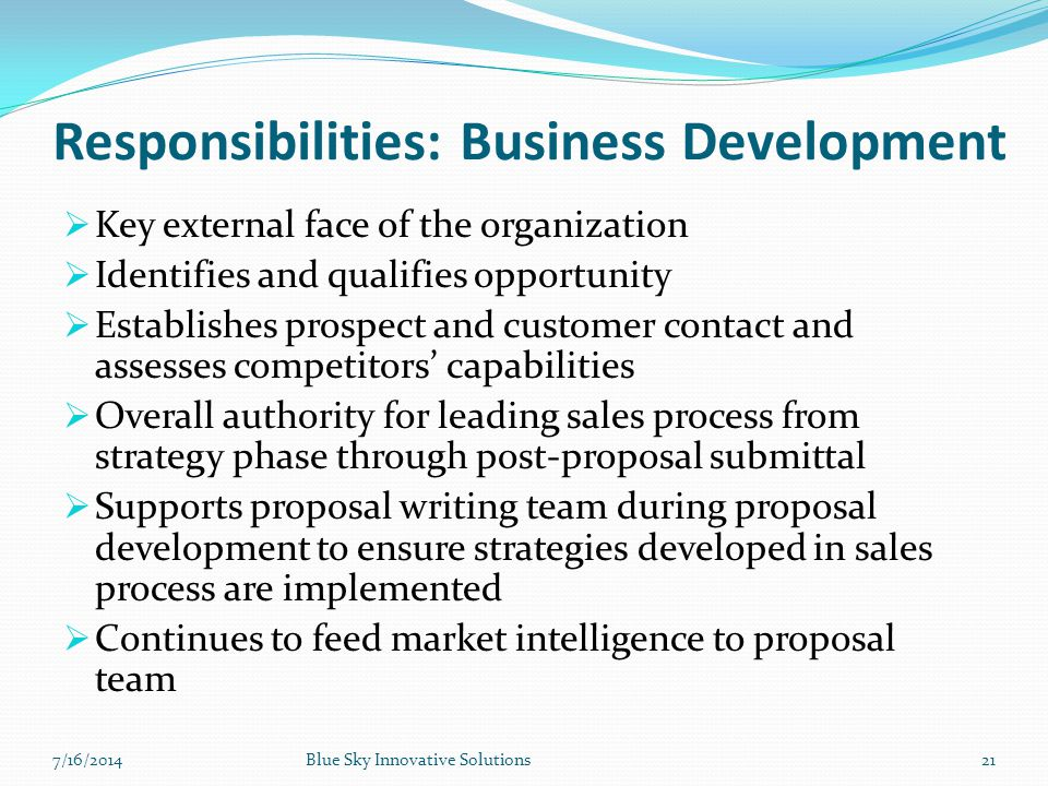 Responsibilities: Business Development