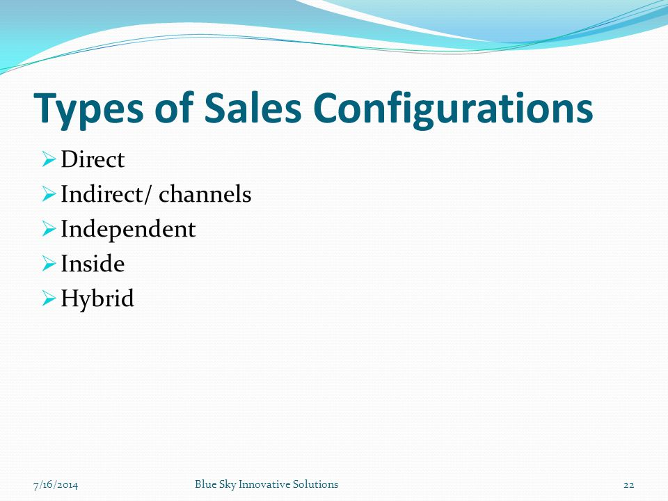 Types of Sales Configurations