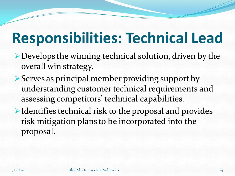 Responsibilities: Technical Lead