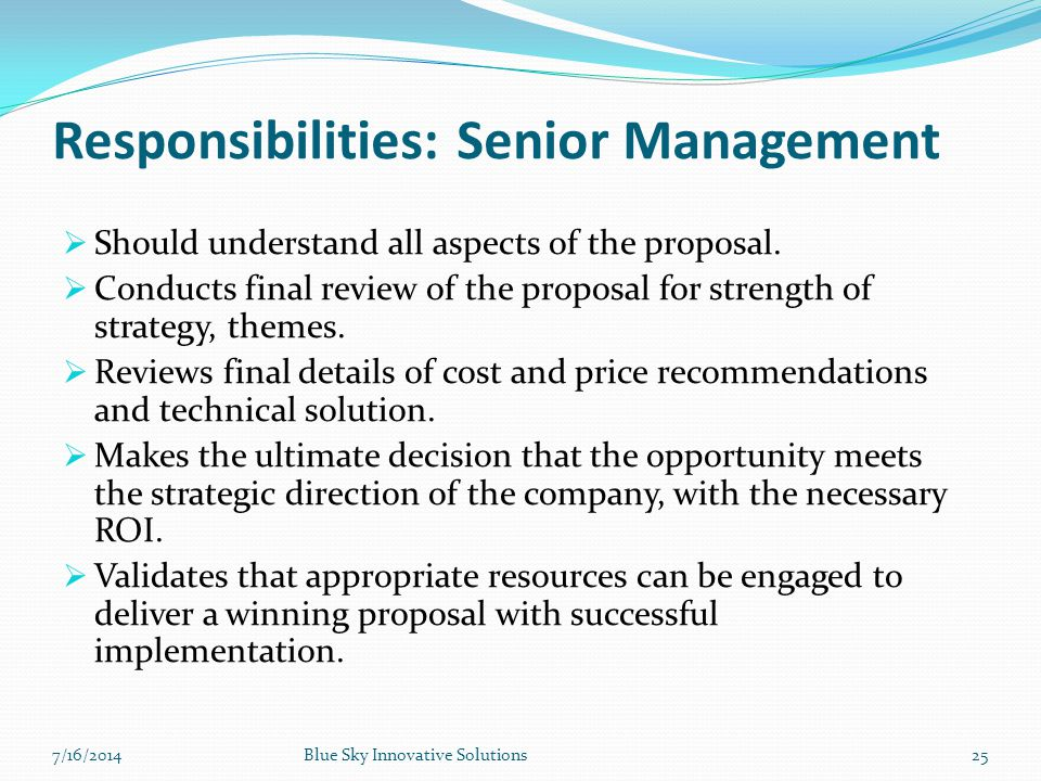 Responsibilities: Senior Management