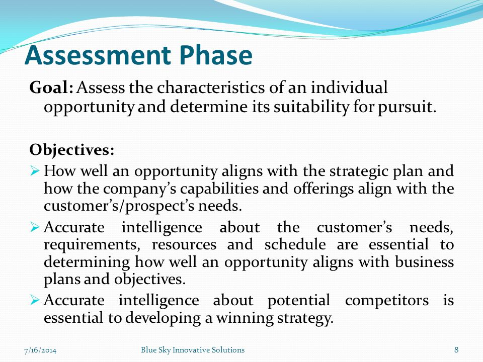Assessment Phase Goal: Assess the characteristics of an individual opportunity and determine its suitability for pursuit.