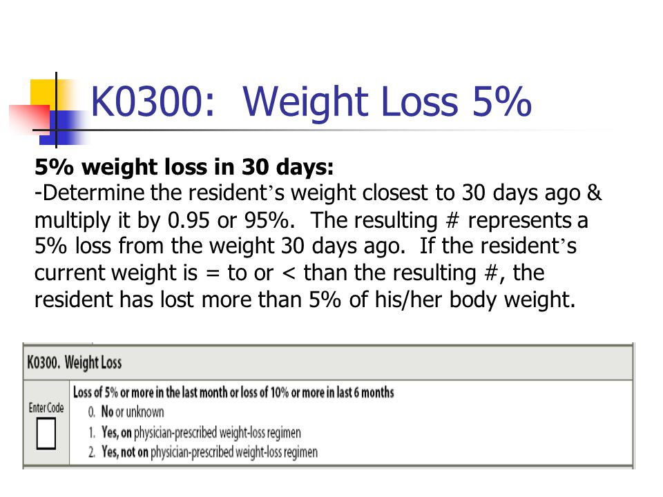 K0300: Weight Loss 5% 5% weight loss in 30 days: