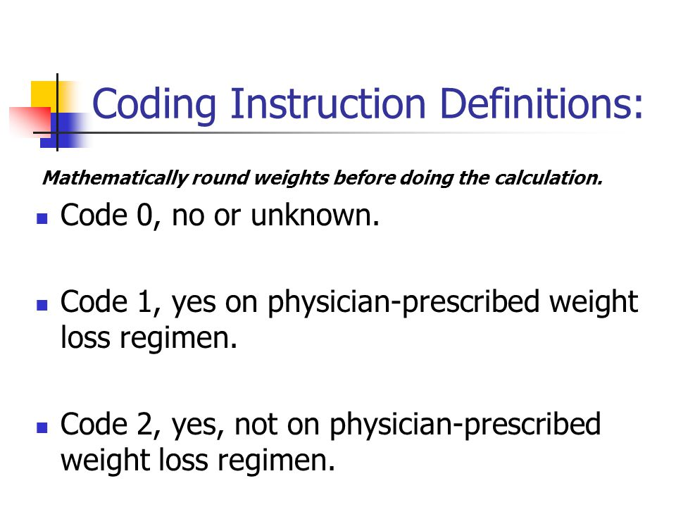 Coding Instruction Definitions: