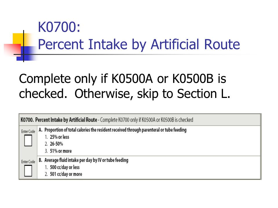 K0700: Percent Intake by Artificial Route