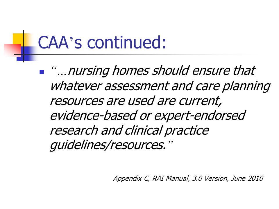 CAA's continued: