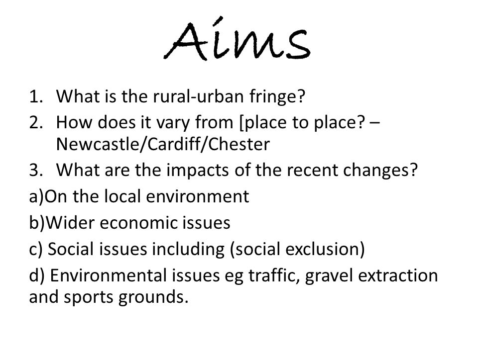 Aims What is the rural-urban fringe