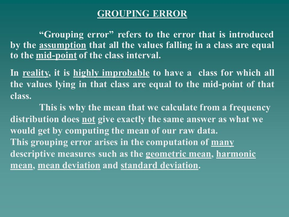 GROUPING ERROR