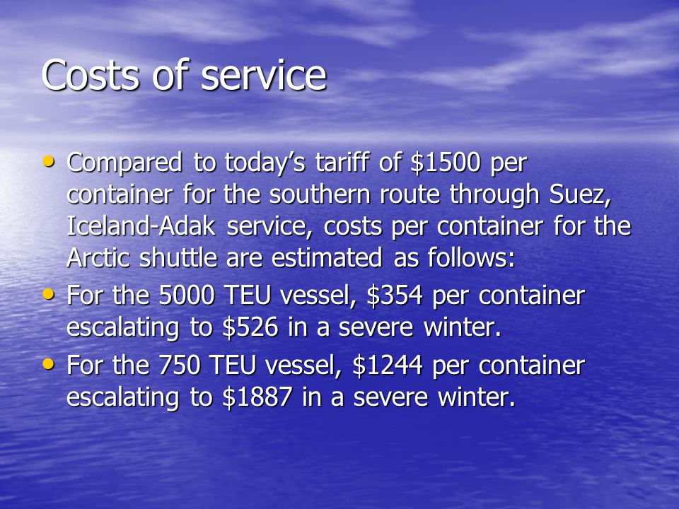 Costs of service