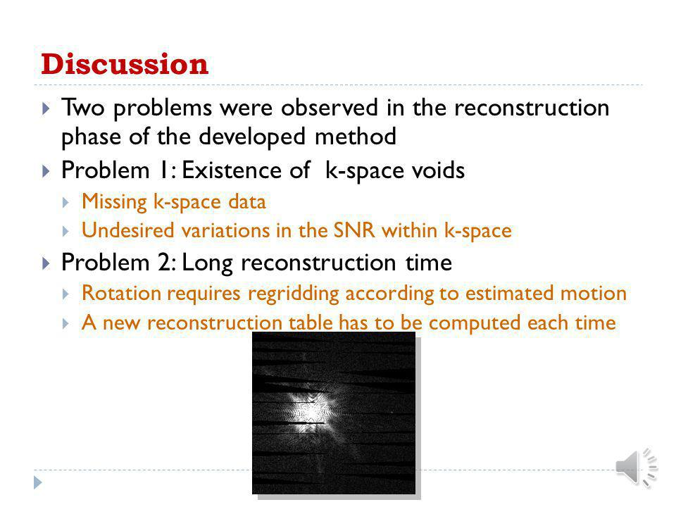 Discussion Two problems were observed in the reconstruction phase of the developed method. Problem 1: Existence of k-space voids.