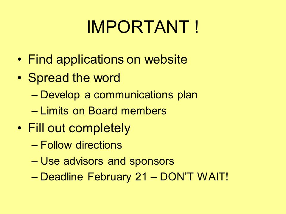 IMPORTANT ! Find applications on website Spread the word
