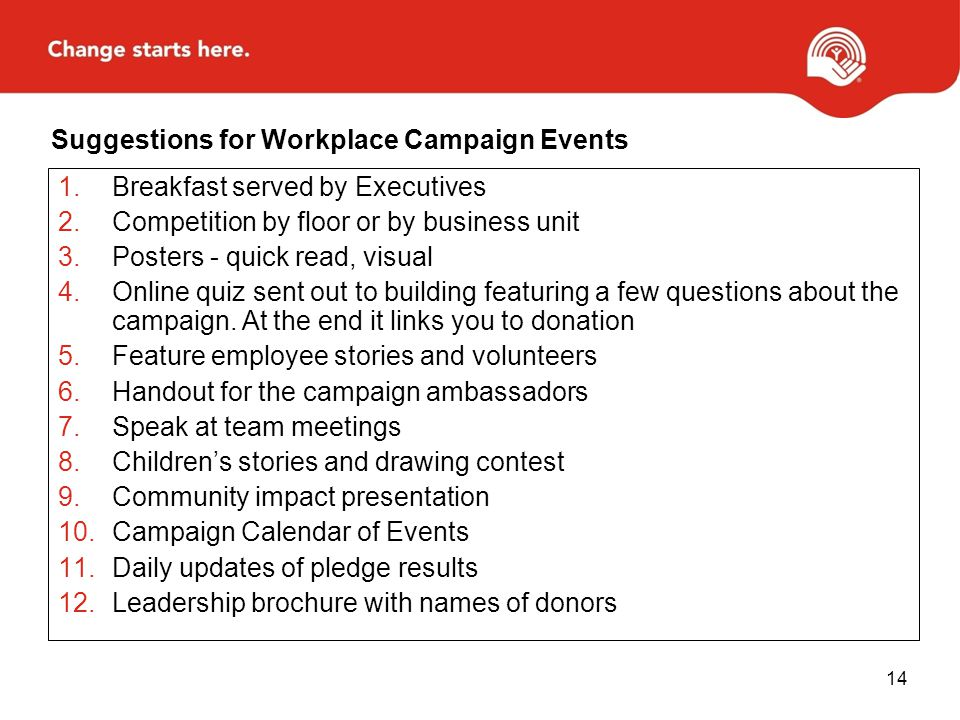 Suggestions for Workplace Campaign Events
