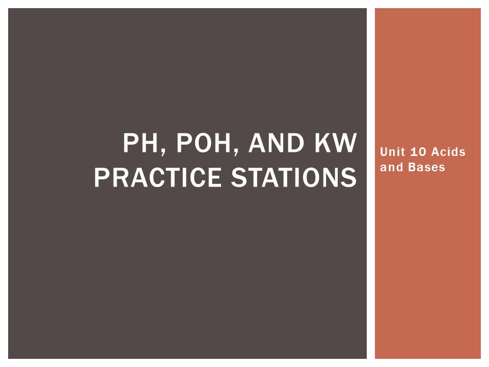 pH, poh, and kw practice stations