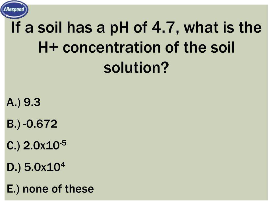 If a soil has a pH of 4.7, what is the H+ concentration of the soil solution