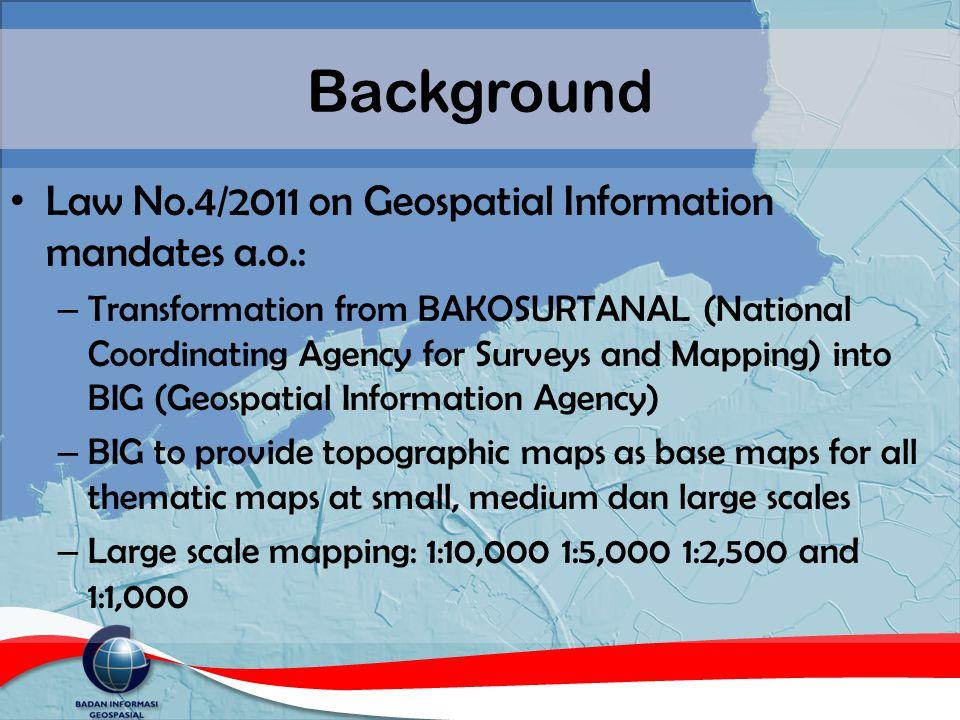 Background Law No.4/2011 on Geospatial Information mandates a.o.: