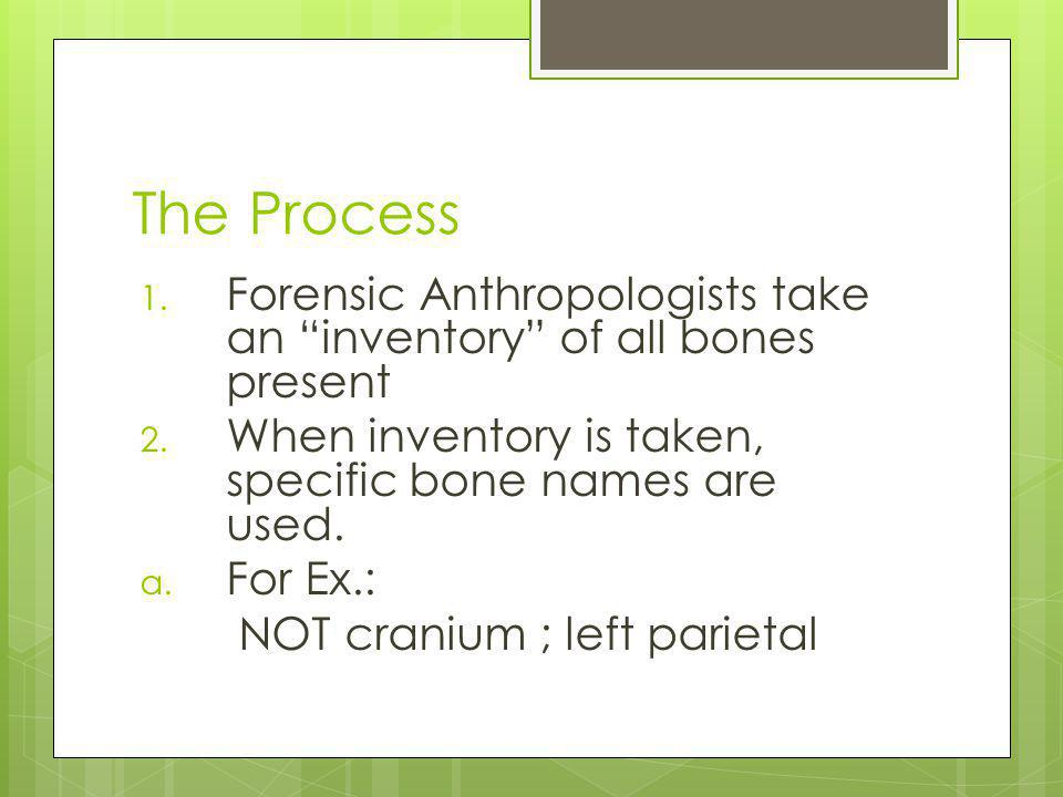 The Process Forensic Anthropologists take an inventory of all bones present. When inventory is taken, specific bone names are used.