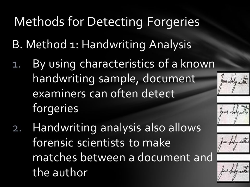 Methods for Detecting Forgeries