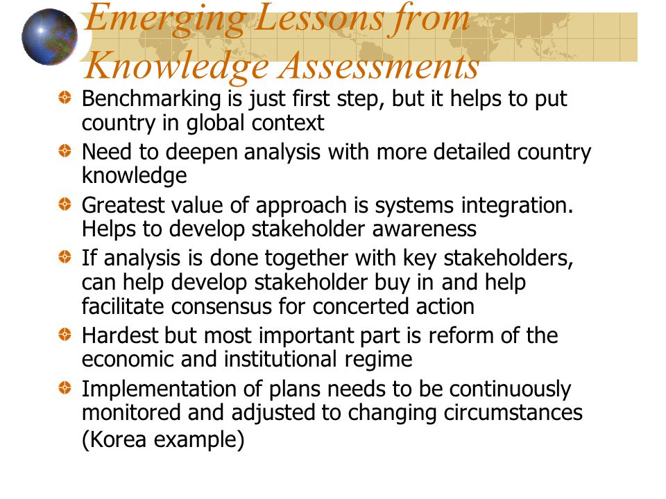 Emerging Lessons from Knowledge Assessments
