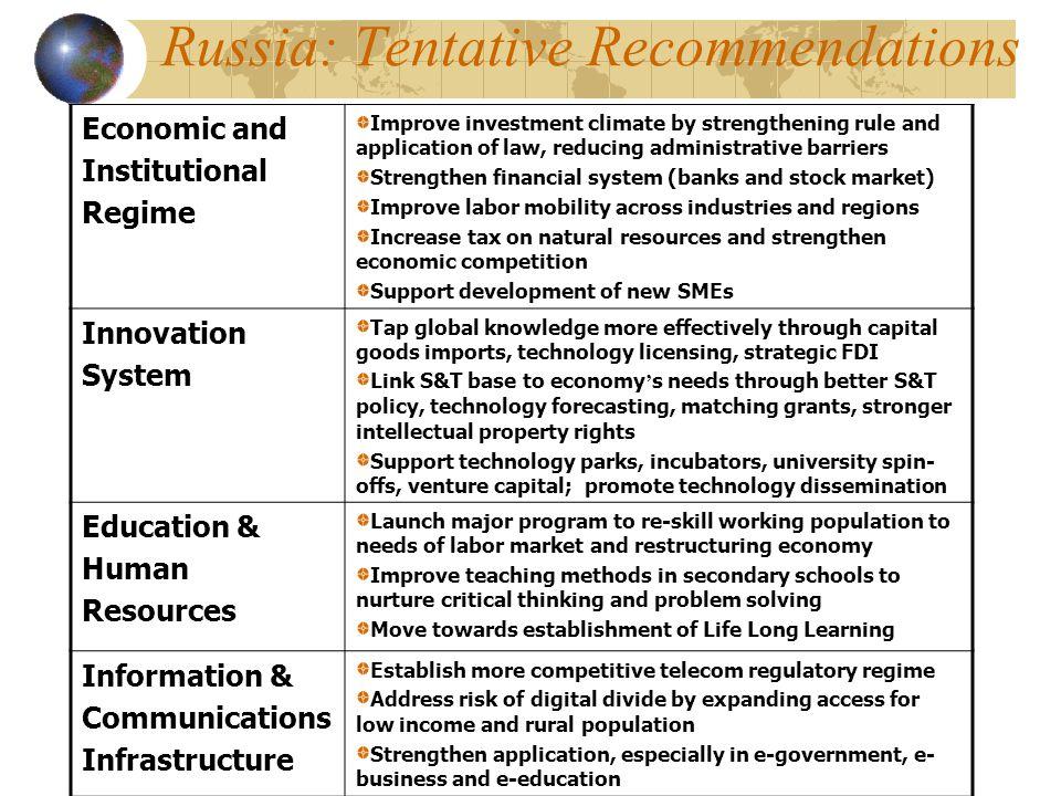 Russia: Tentative Recommendations
