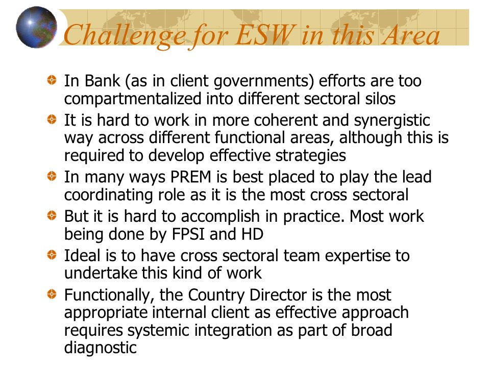Challenge for ESW in this Area