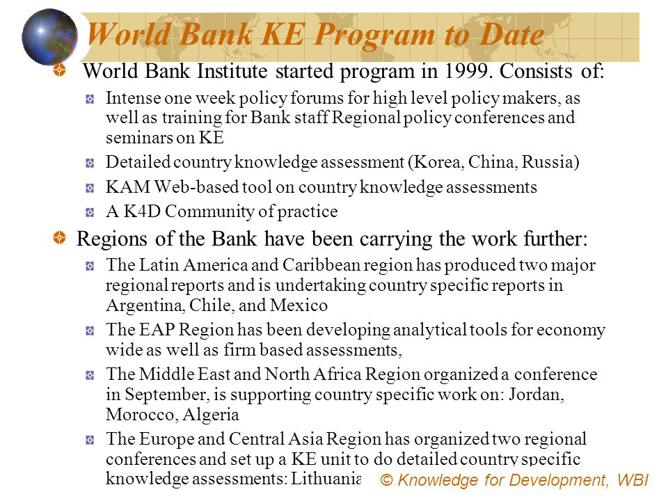 World Bank KE Program to Date