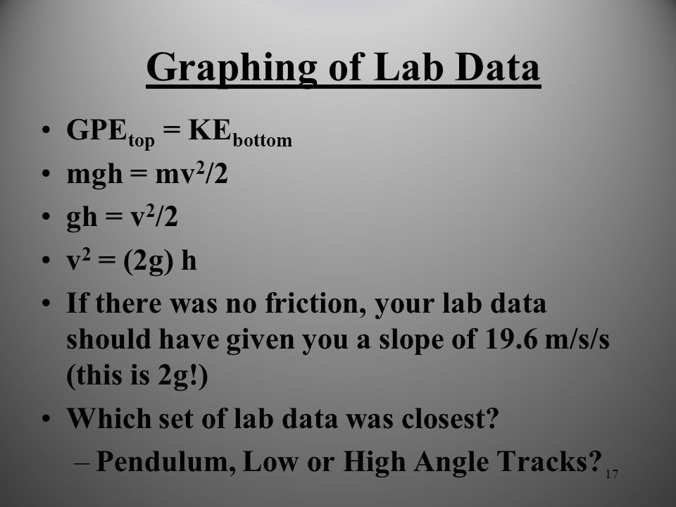 Graphing of Lab Data GPEtop = KEbottom mgh = mv2/2 gh = v2/2