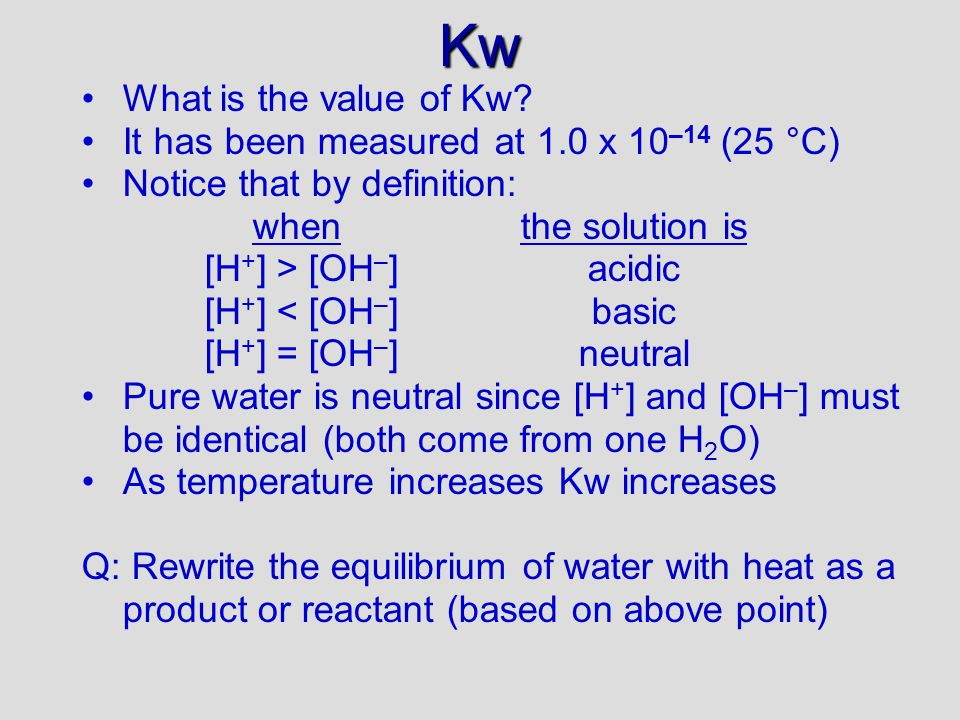 Kw What is the value of Kw