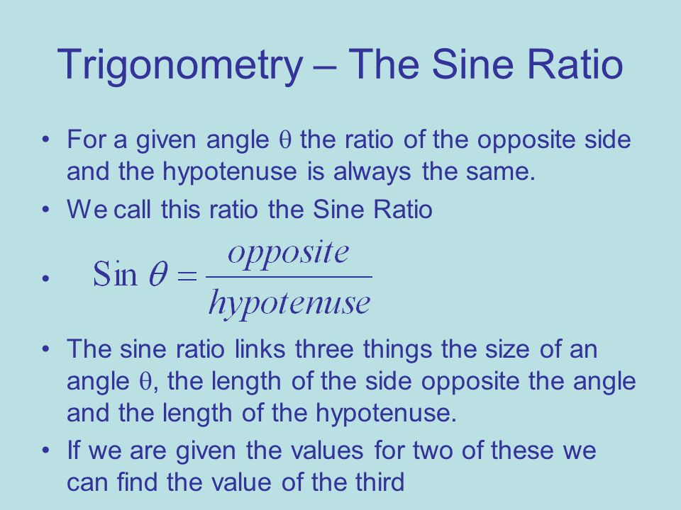 Trigonometry – The Sine Ratio