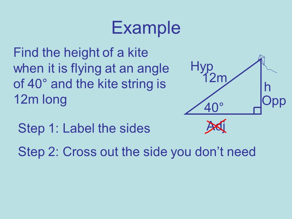 ExampleFind the height of a kite when it is flying at an angle of 40° and the kite string is 12m long.