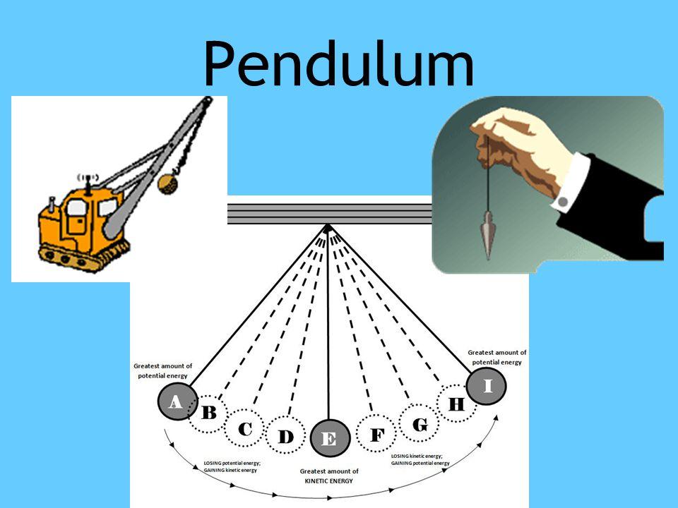 Pendulum Wrecking ball has potential energy. Hand has kinetic energy