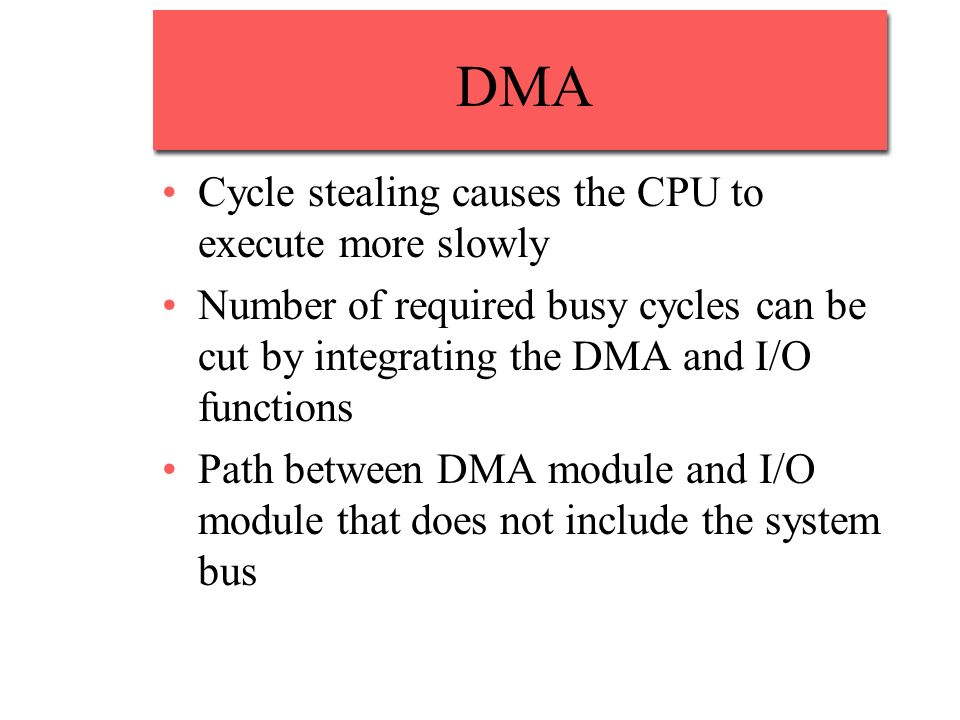 DMA Cycle stealing causes the CPU to execute more slowly