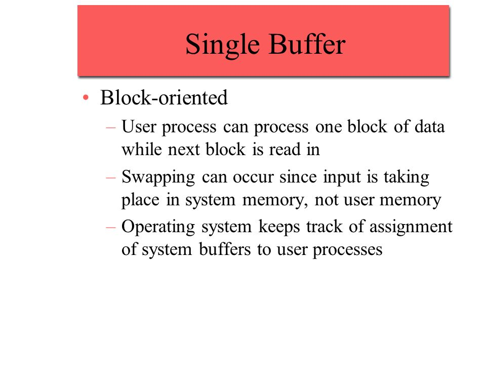 Single Buffer Block-oriented