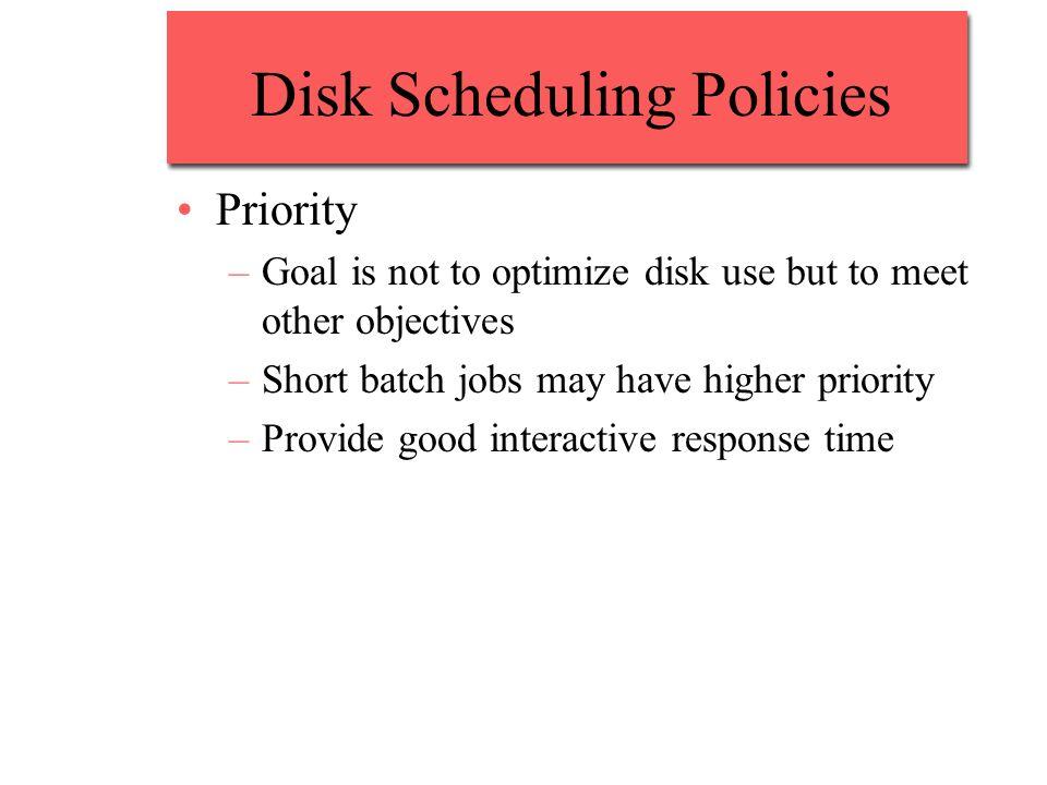 Disk Scheduling Policies