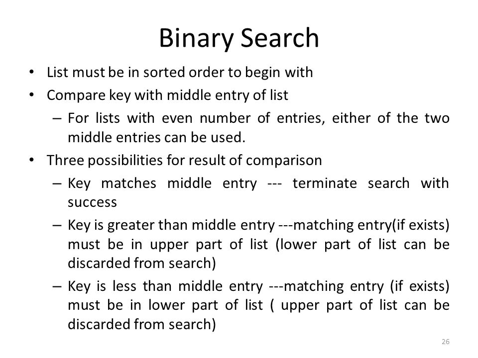 Binary Search List must be in sorted order to begin with