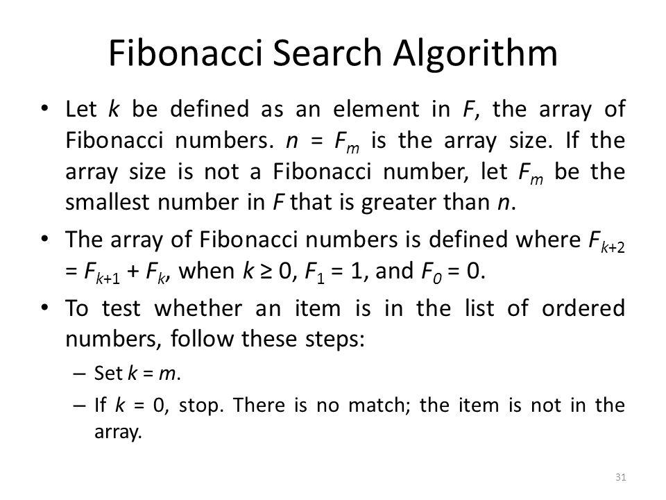 Fibonacci Search Algorithm